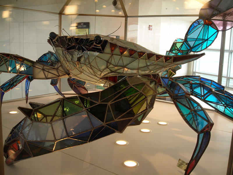 A 500 pound Blue Crab made from Stained Glass