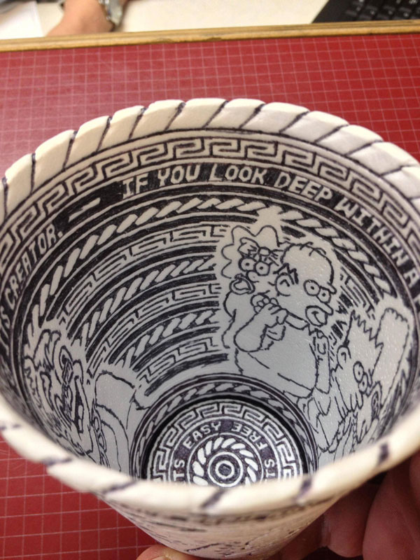 styrofoam coffee cup art with a pen inside and out william hersey (10)