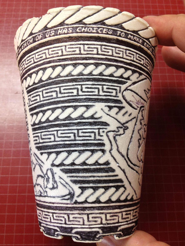 styrofoam coffee cup art with a pen inside and out william hersey (11)