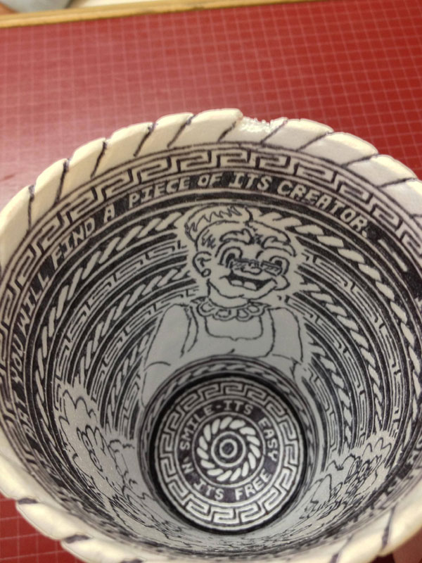 styrofoam coffee cup art with a pen inside and out william hersey (5)