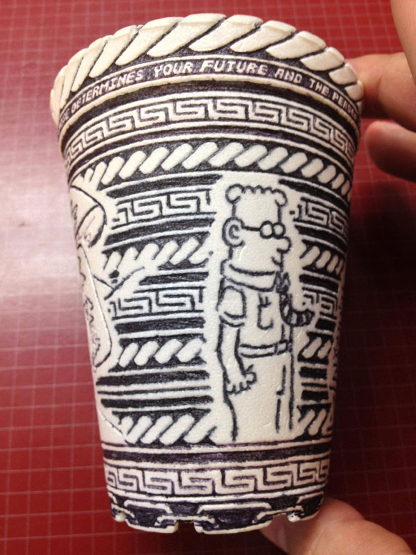 styrofoam coffee cup art with a pen inside and out william hersey (9)