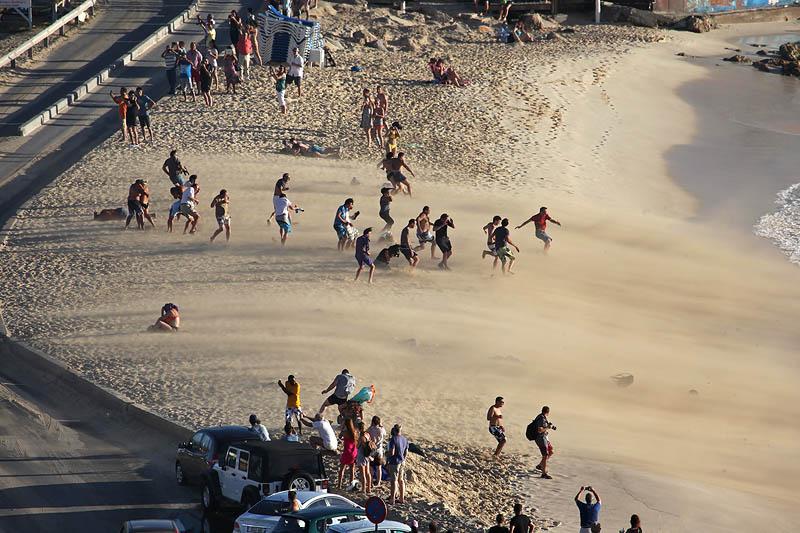 SXM-Maho-beach jetwind sand storm