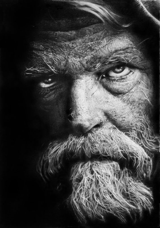homeless warrior by francoclun d5ccvhx Hyperrealistic Portraits Drawn with Pencil