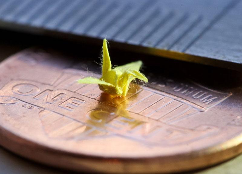 origami miniature micro crane Picture of the Day: Origami Micro Crane