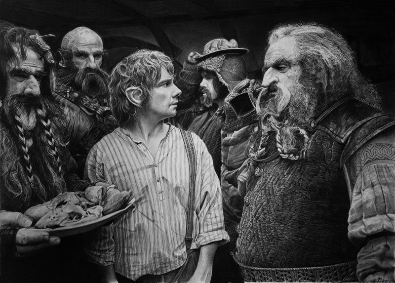 the hobbit by francoclun d5pfh92 Hyperrealistic Portraits Drawn with Pencil