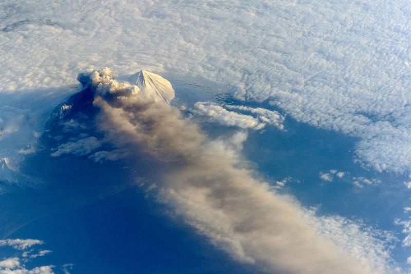 Alaska Pavlof Volcano from space aerial nasa