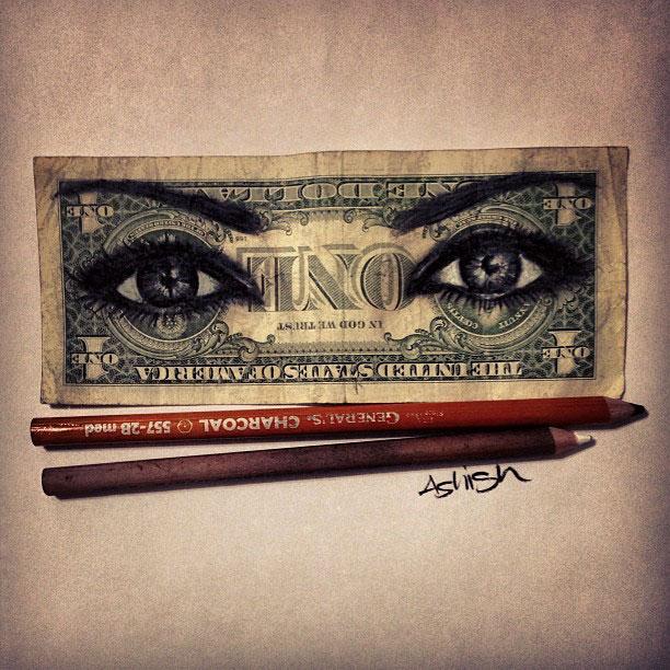 dollar bill art currency doodles by hash ashish patel (6)