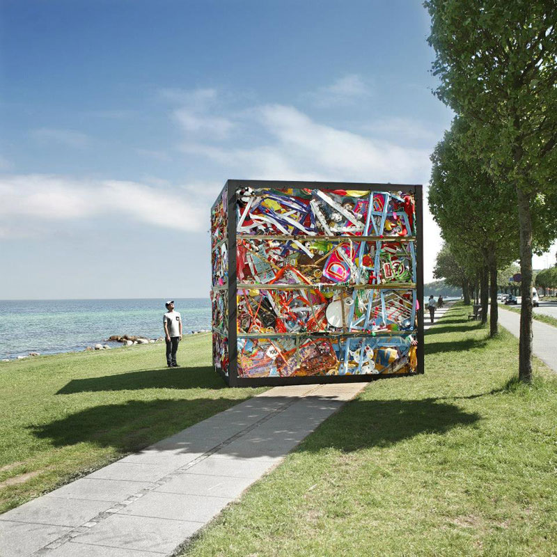 entire amusement park crushed into cube james dive glue society once sculpture by the sea denmark (5)