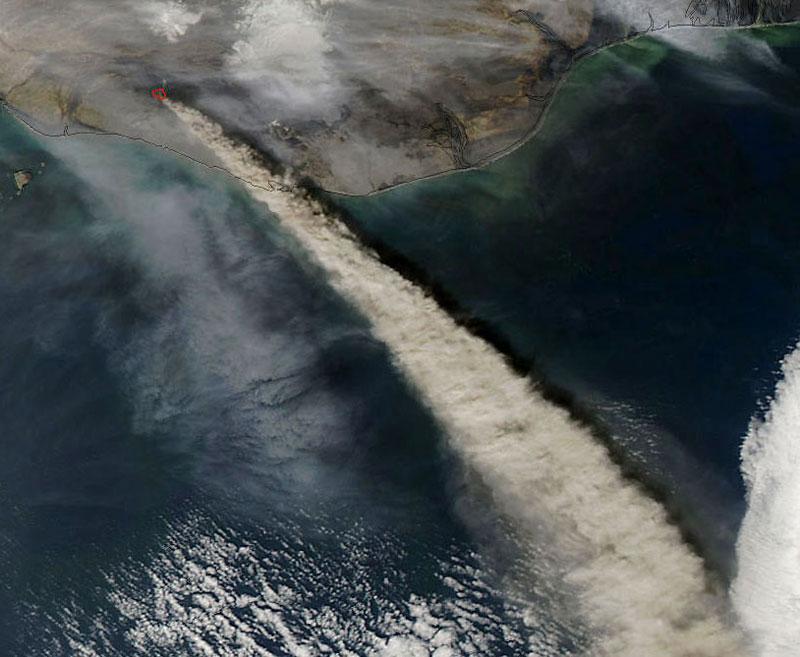 Eyjafjallajokull Volcano, Iceland from space aerial nasa