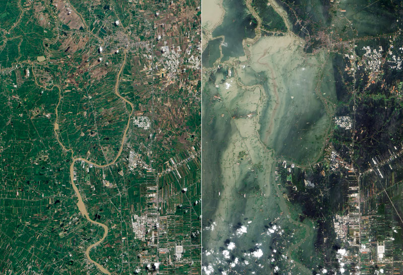 flooding before and after satellite images from space thailand nasa Picture of the Day: Flooding in Thailand   Before and After
