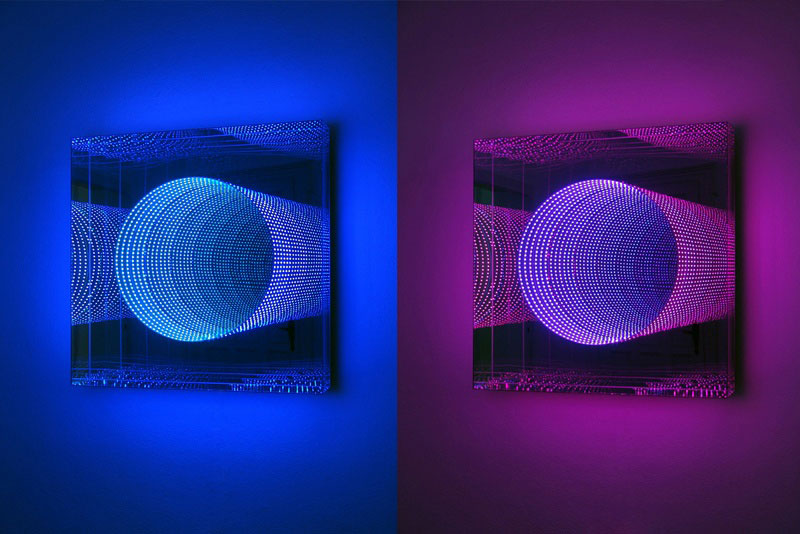 infinite led artworks plexiglass mirrors hans kotter 1 This Light Bending Cube of One Way Mirrors Will Really Trip You Out
