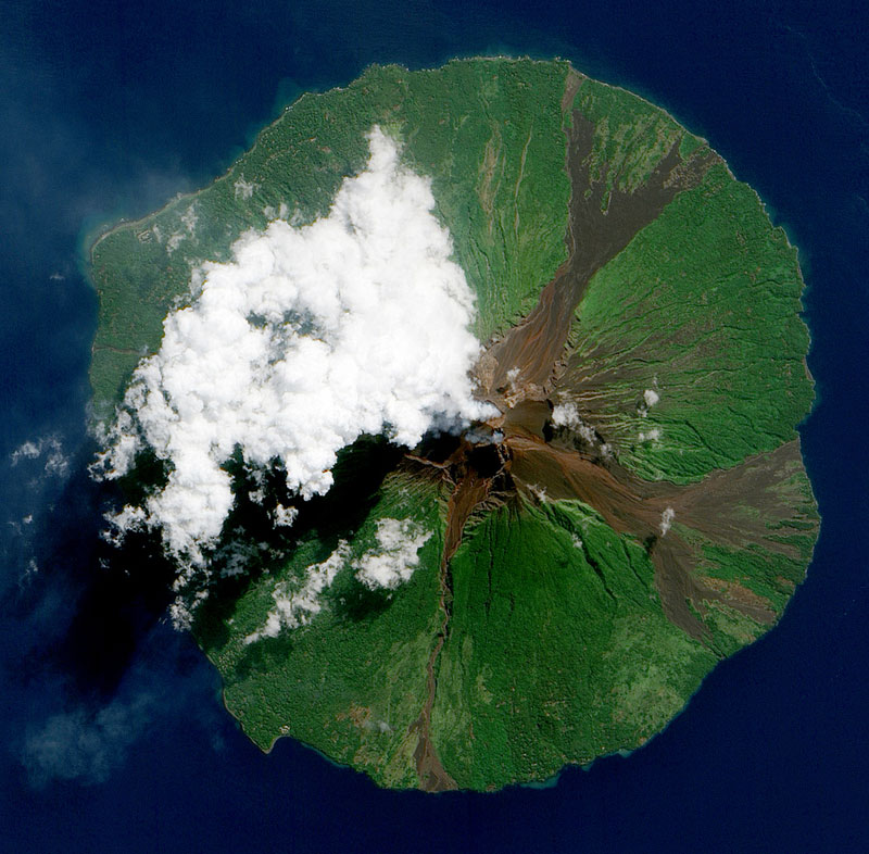 Manam Volcano, Papua New Guinea from space aerial nasa