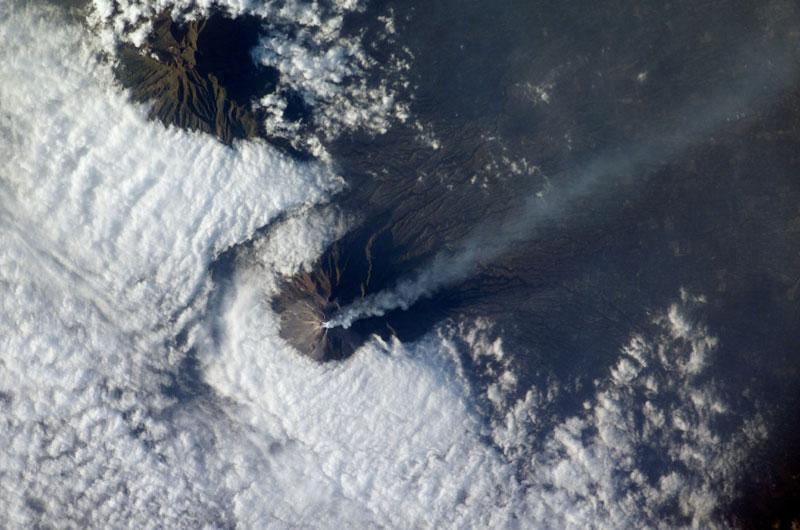 merapi volcano java from space aerial nasa