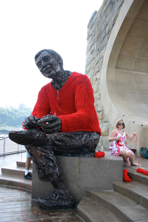 mr rogers statue crocheted red cardigan sweater alicia kachmar (3)