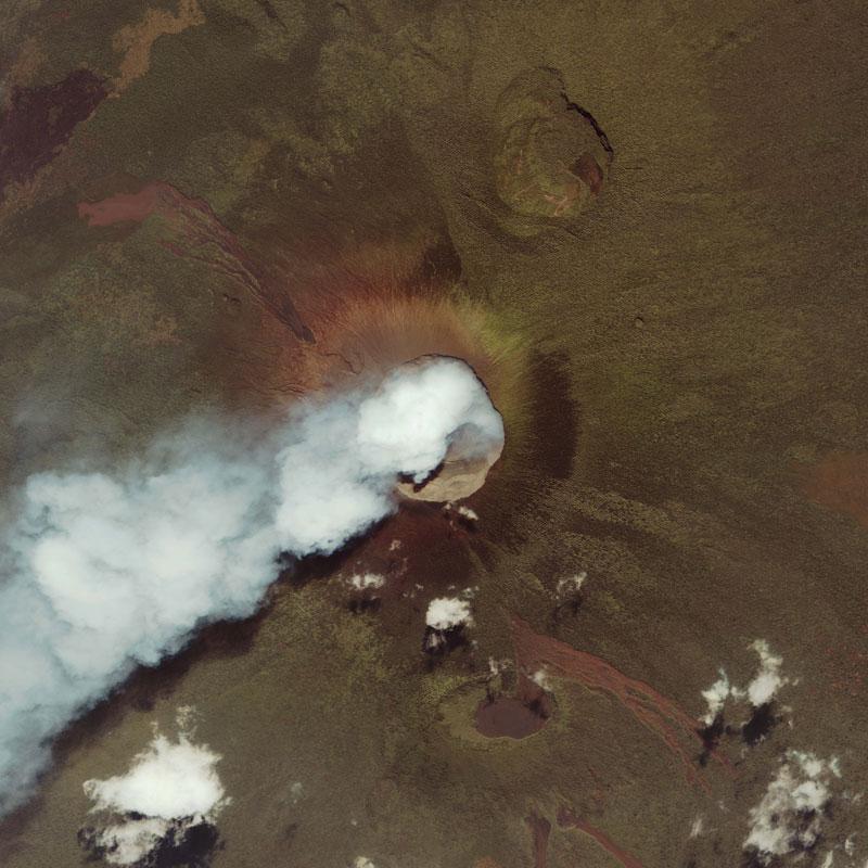 Nyamuragira and Nyiragongo east africa volcano from space aerial nasa