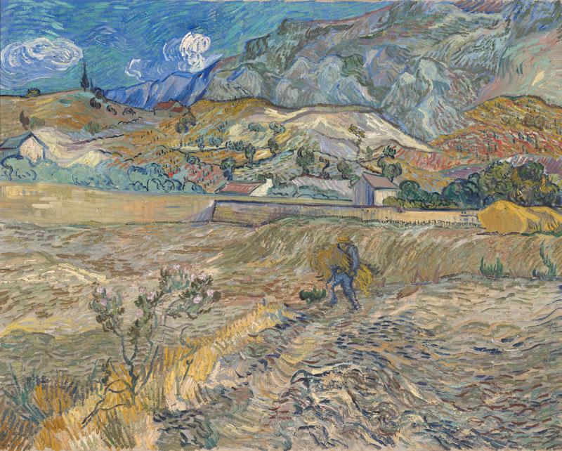 vincent-van-gogh-Enclosed-Wheat-Field-with-Peasant-Landscape-at-Saint-Rémy