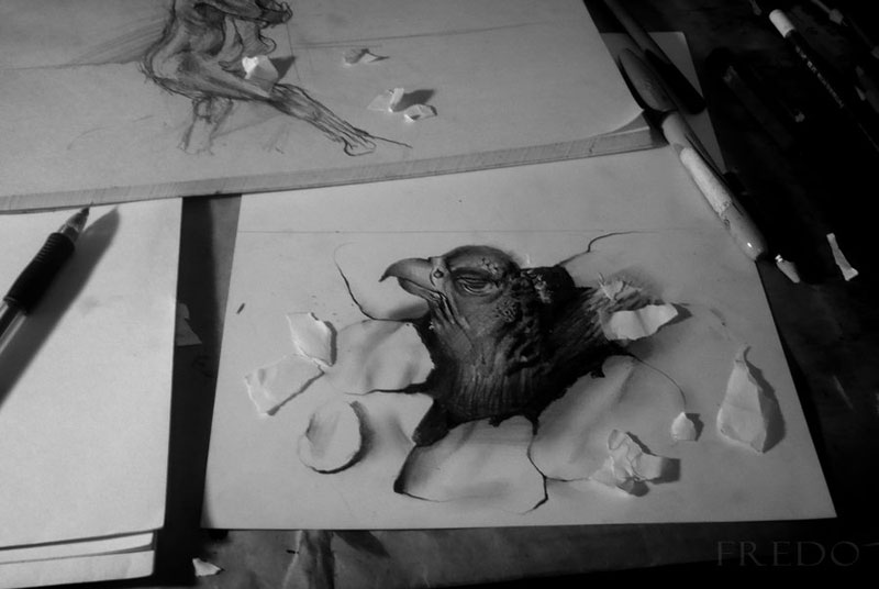 Anamorphic 3D Pencil Drawings by Fredo (2)