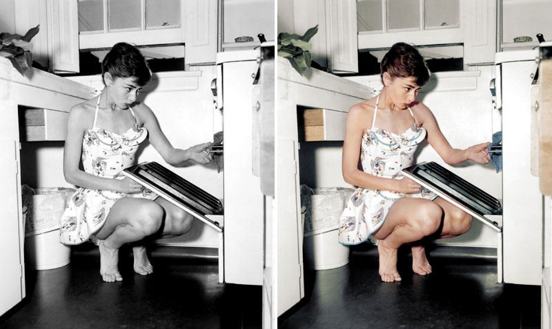 audrey hepburn colorized Jane Long Colorizes Old Photos and Adds a Surreal Twist to Them