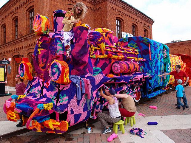 Crocheting a Locomotive in Lodz, Poland