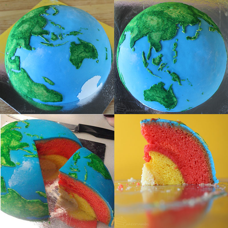 earth planet cake by cakecrumbs Spherical Layer Cake Planets by Cakecrumbs