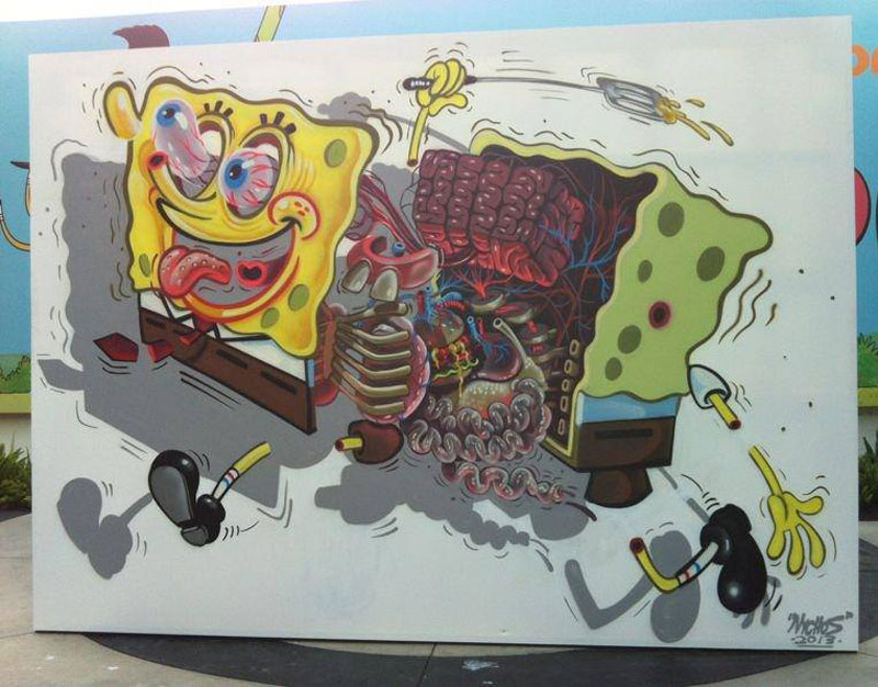 'Exploded View' Street Art Murals by Nychos