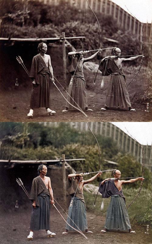 Kyudoka--Japanese-Archers-c1860-photo-chopshop-original