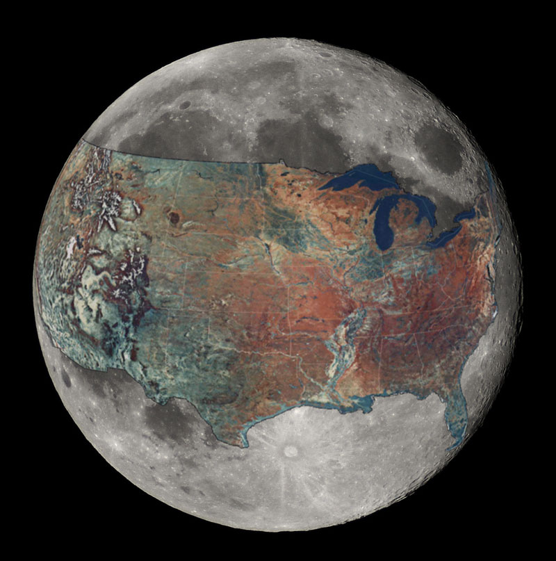 map of united states overlaid on the moon 40 Maps That Will Help You Make Sense of the World