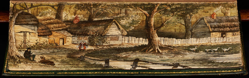 a view of olney fore edge book painting 40 Hidden Artworks Painted on the Edges of Books