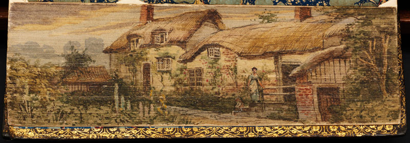anne hathaway cottage fore edge book painting 40 Hidden Artworks Painted on the Edges of Books