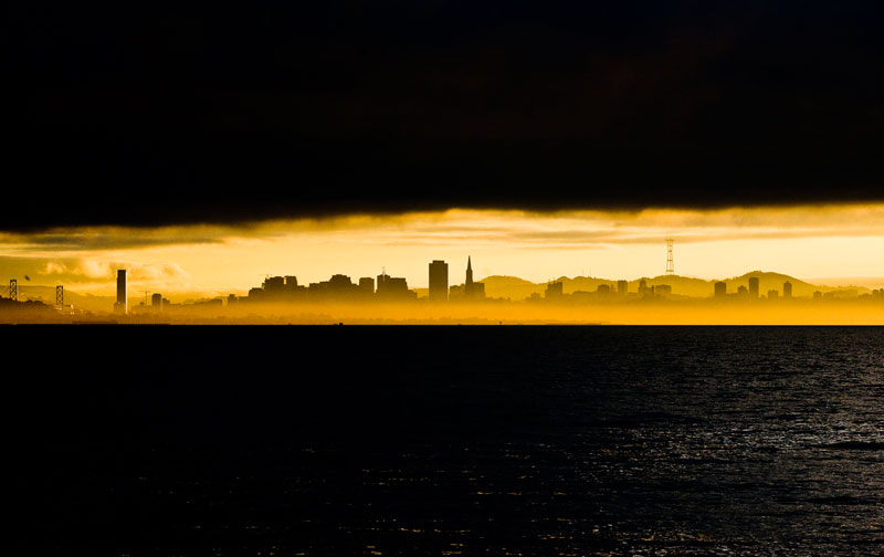 skyline silhouette san francisco from ablany beach Picture of the Day: Skyline Silhouette at Sunset