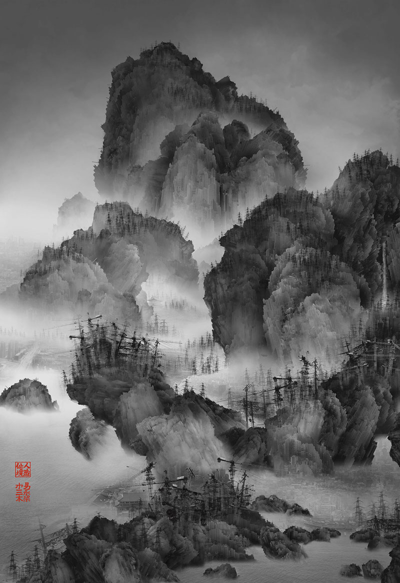 traditional chinese landscape paintings and modernized chinese cities yang yongliang 4 Photos Made to Look Like Traditional Chinese Paintings
