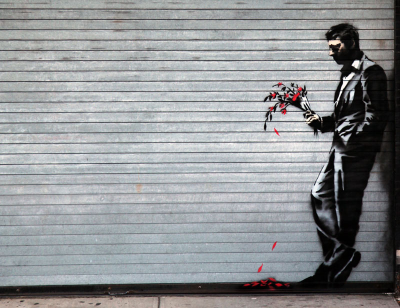banksy looking for love stencil hells kitchen new york strip club 2 Picture of the Day: Banksy Looks for Love in Hells Kitchen