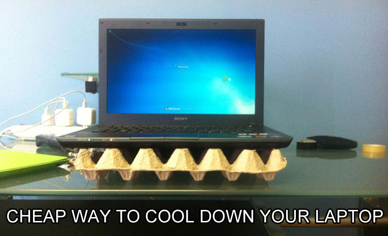 egg carton laptop cooler stand life hack 40 Clever Life Hacks to Simplify your World