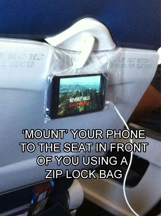 how to hang your phone on a flight life hack 40 Clever Life Hacks to Simplify your World