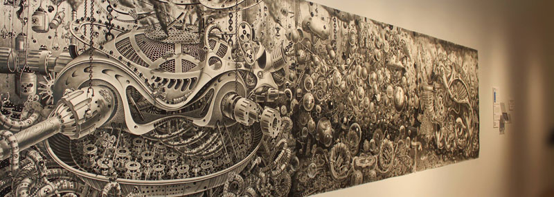 triptych drawing graphite and ink by samuel gomez deadpan comedy art prize 2013 1 Incredibly Intricate Ink Illustrations by Alex Konahin