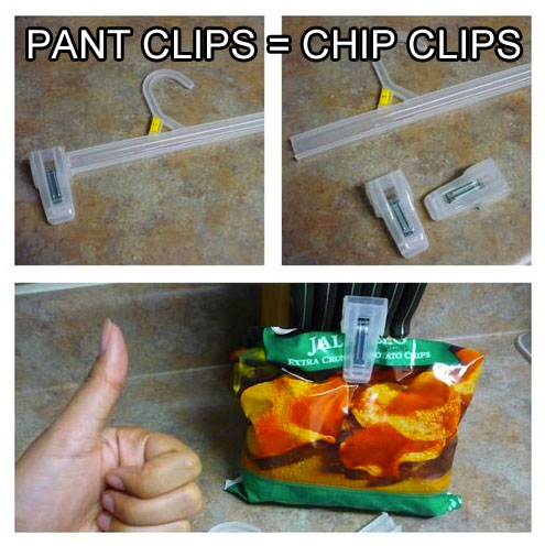 turn pant clips into chip clips life hack 40 Clever Life Hacks to Simplify your World