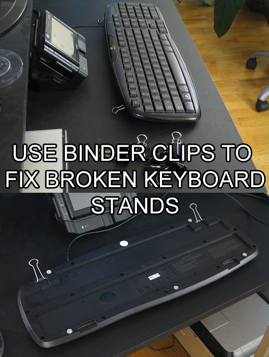 use binder clips to fix keyboard stand life hack 40 Clever Life Hacks to Simplify your World