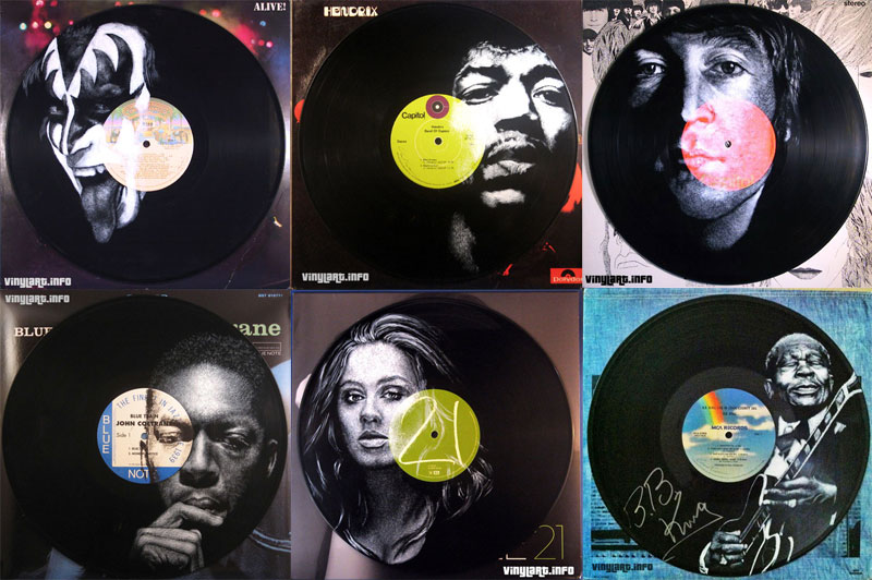 25 Musicians Painted Directly onto Vinyl Records