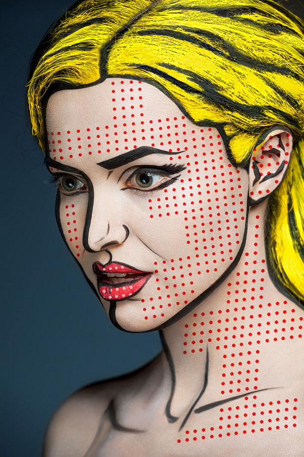 2D Portraits Painted Onto Human Faces (8)