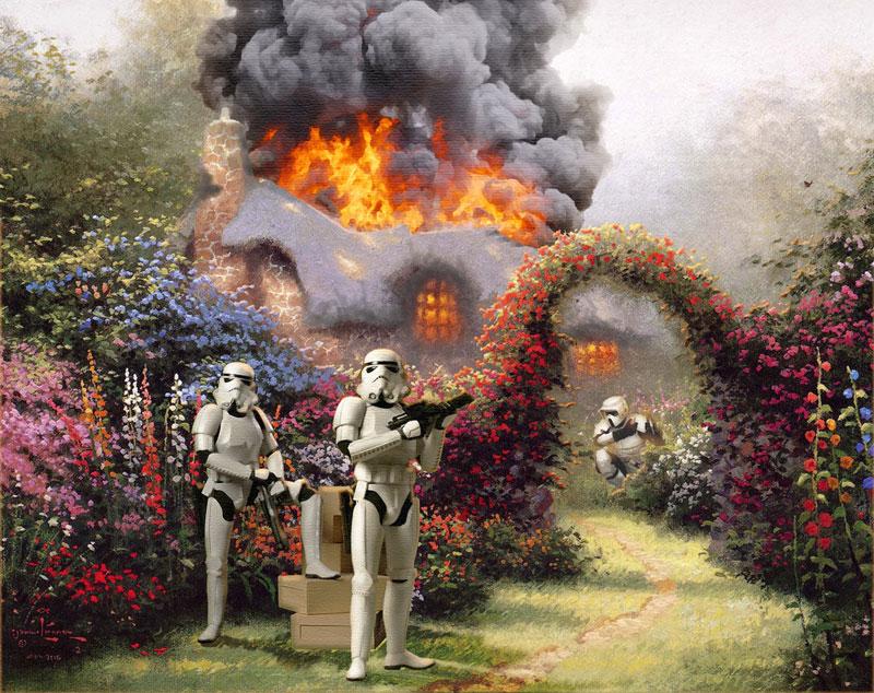 adding star wars figures to thomas kinkade paintings jeff bennett alien artisan (3)