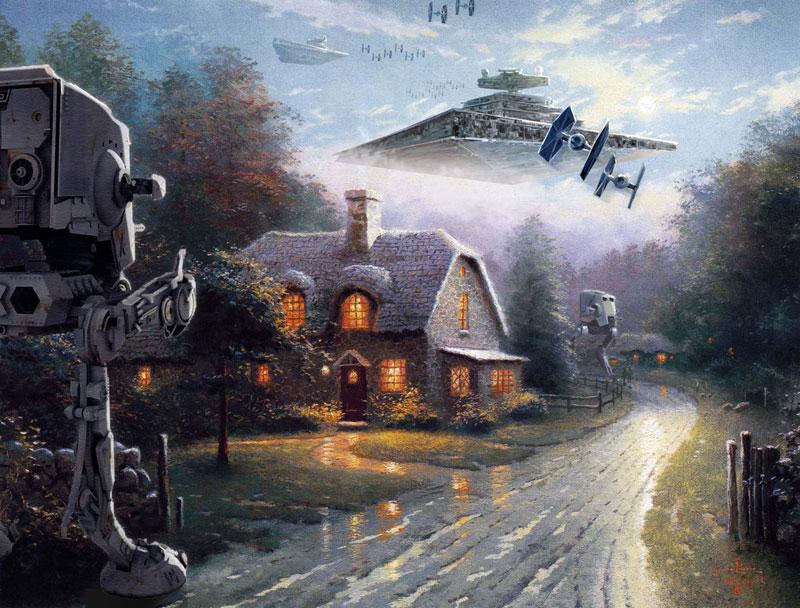 adding star wars figures to thomas kinkade paintings jeff bennett alien artisan (7)