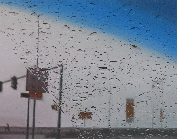 Angle  by Gregory Thielker oil painting through car windshield