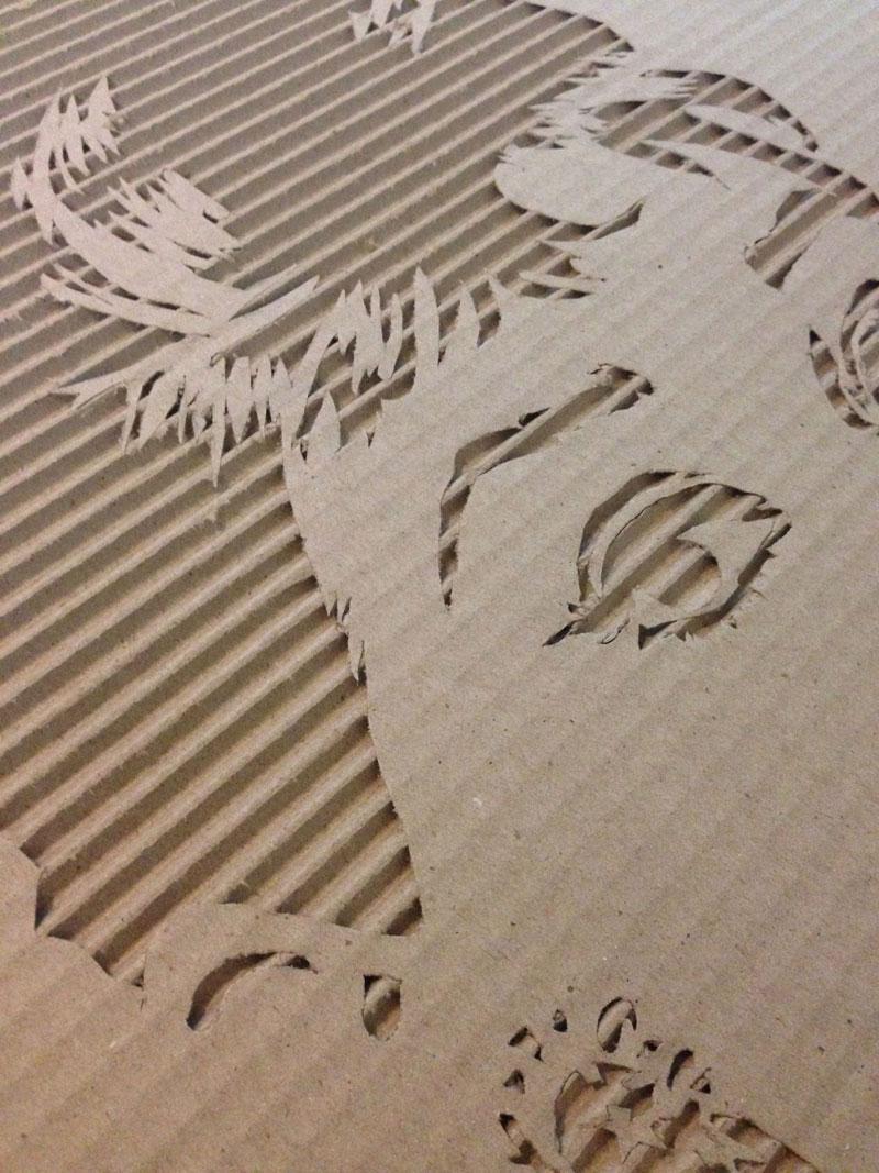 Celebrity Portraits Carved into Corrugated Cardboard-Audrey-Hepburn
