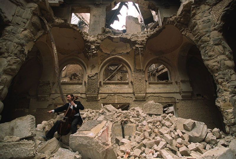 cellist of sarajevo vedran smailovic playing in partially destroyed national library 1992 The Top 100 Pictures of the Day for 2013