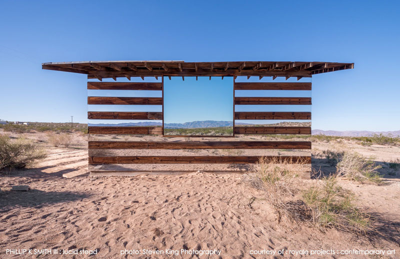 lucid stead by phillip k smith iii transparent cabin wood and glass joshua tree national park 2 A Mirrored Fence that Changes with the Seasons