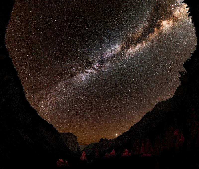 milky way night sky starts tunnel view yosemite national park