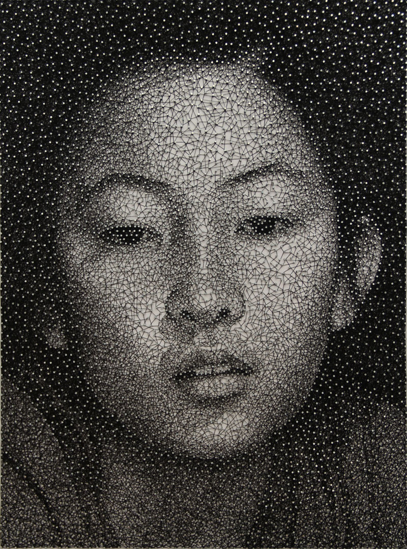 portraits made from single thread wrapped around nails kumi yamashita 1 12 Incredible Portraits Drawn Onto Maps