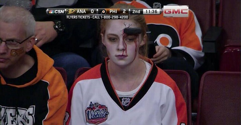 puck to head halloween hockey game