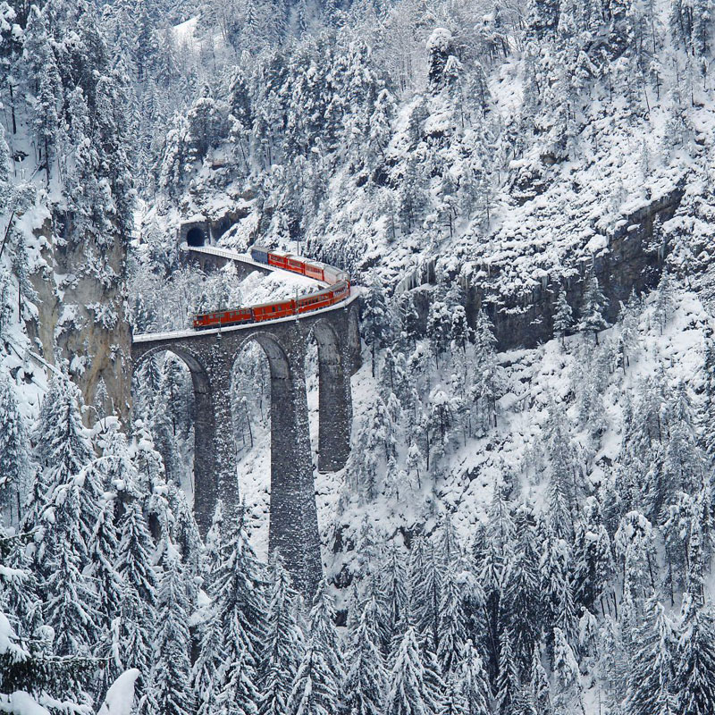 rhaetian railway albula bernina glacier express bernina express unesco 13 This Amazing Bridge Turns Into a Tunnel and Connects Denmark and Sweden