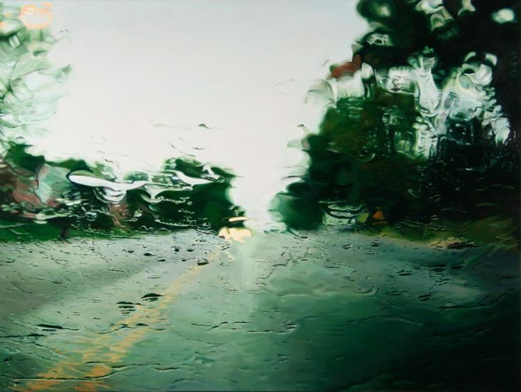 Route7  by Gregory Thielker oil painting through car windshield